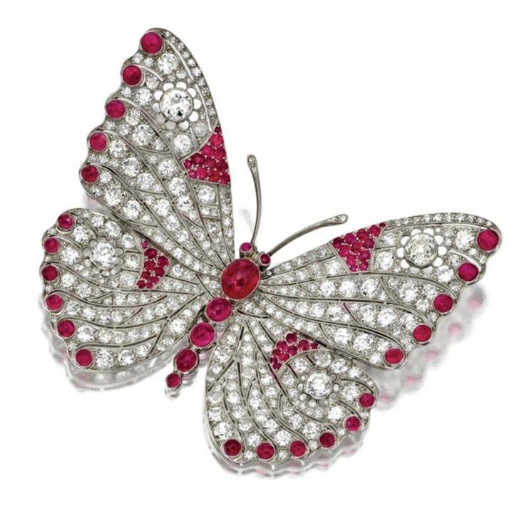 #Diamond #Ruby #Butterfly #Brooch #Pins #Jewellery