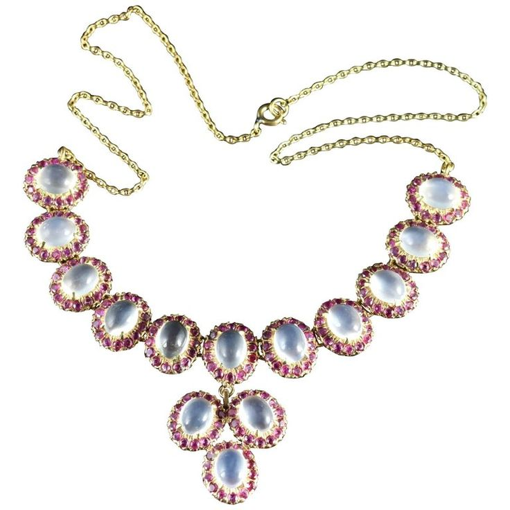 Antique Victorian Moonstone Ruby Gold Silver Necklace | 1stdibs.com