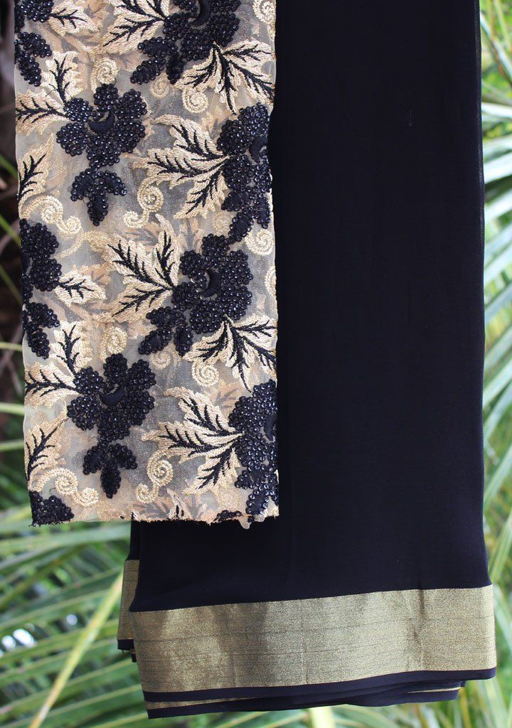 Black saree with embroidered blouse piece