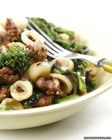 Orecchiette with Broccoli Rabe good and do not forget the basil!