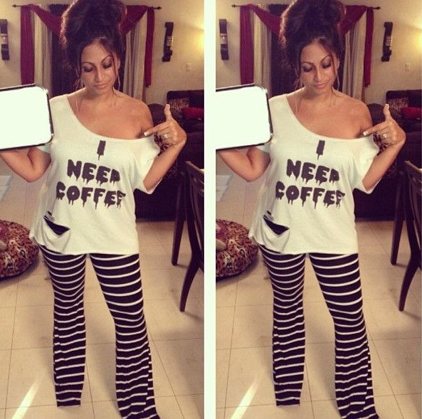 Tracy DiMarco I Need Coffee Oversized Tee #iconclothing #tracydimarco #coffee #cafe #offshoulder #jerseylicious