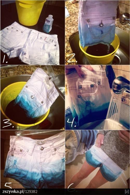 Forma facil y practica para teñir un short de jean viejo