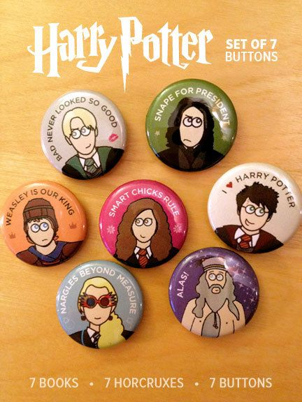 Harry Potter Buttons  Set of 7 by theartmash on Etsy, $7.00
