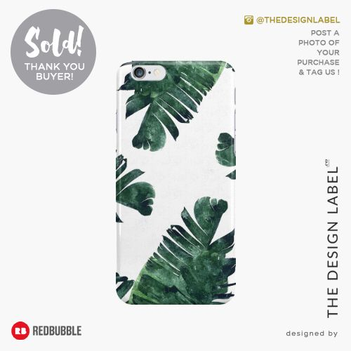 'Banana Leaf Watercolor Pattern' iPhone Case  Sold! #redbubble #tech #iphone6s