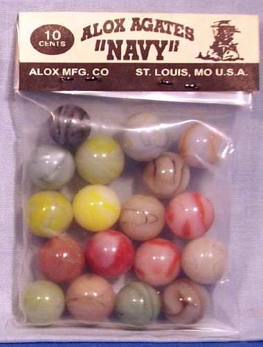 1950's Agates Marbles by Alox 10¢ Dime Store Bag Navy ~ Store Rack Display Bag
