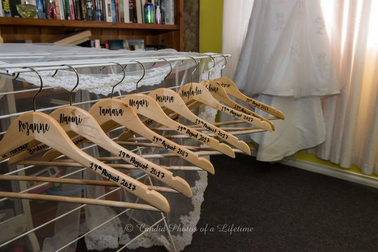 Wedding photographer, Candid Photos of a Lifetime - personalised coathangers for the bridesmaids
