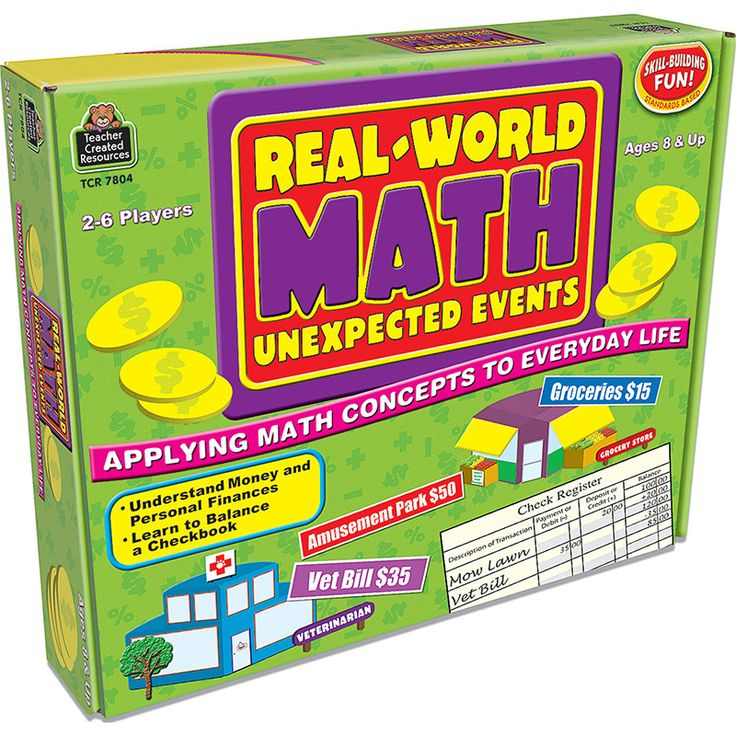 """Help students see the relevance of math skills. Each player begins with a checking account balance of $100. In turn, each player sees how many spaces to move and picks up an """"unexpected event"""" card. A"""