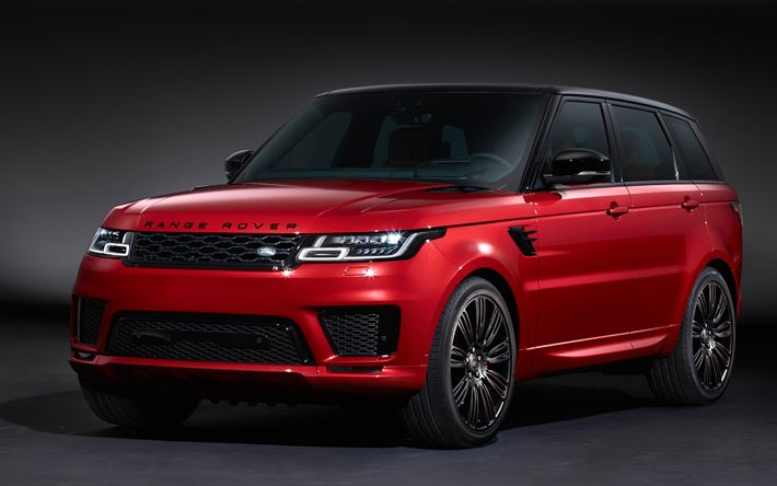 Download wallpapers 4k, Range Rover Sport Autobiography, 2017 cars, red Range Rover Sport, SUVs, Land Rover