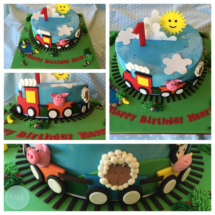 A cute train cake for a little mans 1st birthday! So cute :)