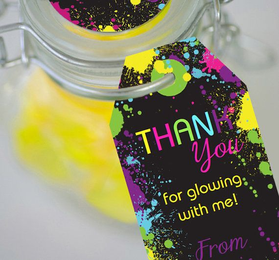 Neon Glow Party Favor Tags Instantly by SunshineParties on Etsy