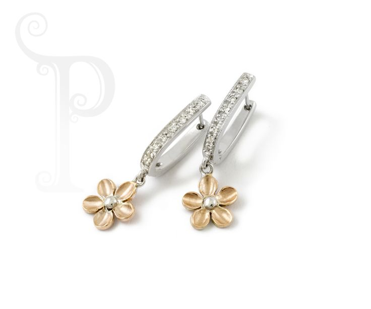 Handmade 9ct Gold Blossom Drop Earring, Set With Round Brilliant Cut Diamonds