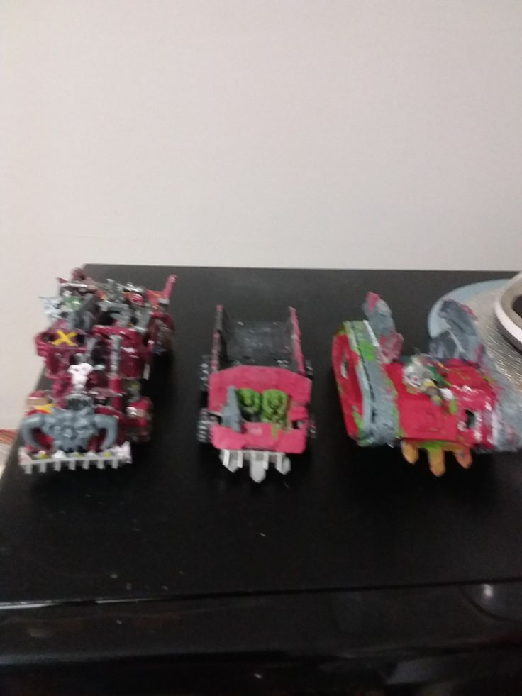 Ork wartrukks. 1=New one,2#old one,3# custom out of Chimera.