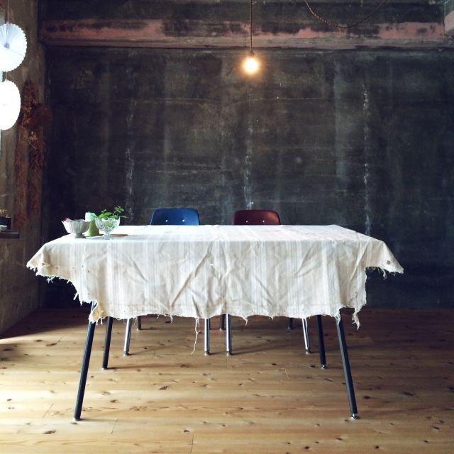 kikiさんの、机,アンティーク,リノベーション,リネンテーブルクロス,のお部屋写真