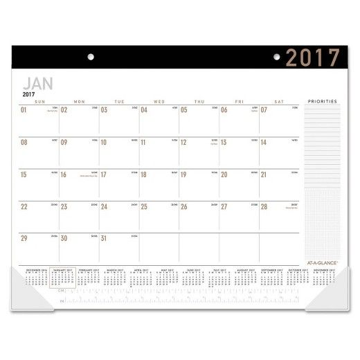 Contemporary desk pad features a fashion-forward color scheme and design elements. Monthly protection for your desktop with a full 12 months of planning. One month per page with unruled daily blocks to write in notes and reminders on each date. Extra writing space for priorities also included. Full year calendar reference on each monthly calendar page makes it easy to quickly look up dates. 15 inch ruler on every page for convenience. Desk pad pages are white with black top binding, and the…