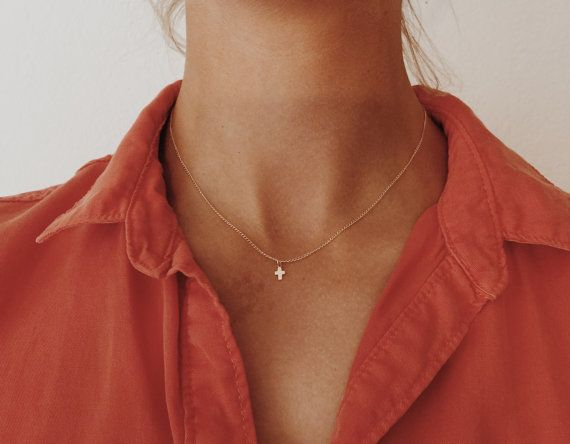 "Tiny Gold or Rose Gold Cross Necklace on Gold Fill 14"", 16"", 18"", or 20"" Chain"