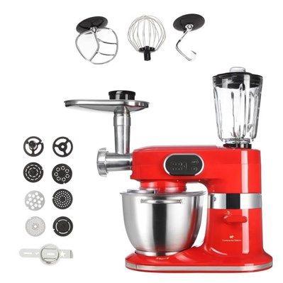 Robot multifonction : Pâtissier / hachoir à viandes / filière à pâtes / Blender en verre - Puissance : 1000 W - Capacité du bol 5 L - Capacité du blender 1.5 L