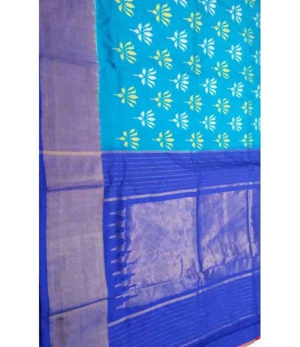 Blue Pure Handloom Ikkat Silk Saree