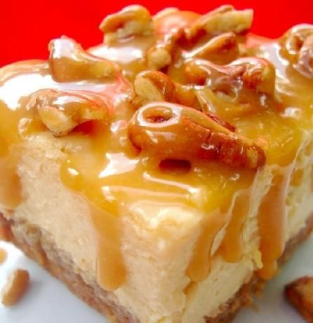 Caramel Pecan Cheesecake from Food.com:   								This was in my local newspaper, and I tried it for a Super Bowl party. It's really good, VERY rich -- pretty easy too. Makes a lot, so I think it could be easily halved. (Prep/Cook time does NOT include 4 hours of refrigeration needed)