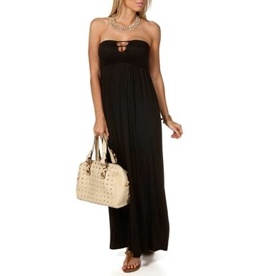Black Bar Front Maxi Dress