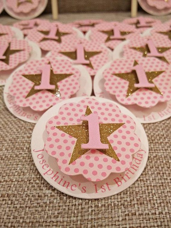 First Birthday Favor Tags, First Birthday Gift Tags, Number 1 Favor Tags. Pink and Gold Favor Tags  This listing is for the Pink and Gold Glitter