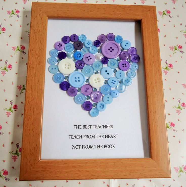 Blue and lilac button and rhinestone heart in a 20cm x 15cm frame. Teacher gift. - The Supermums Craft Fair