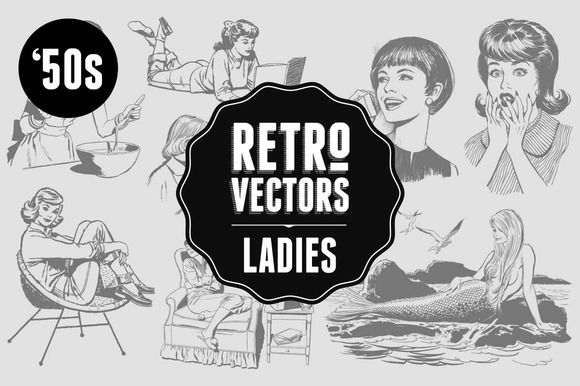 '50s Ladies by Retro Vectors on Creative Market
