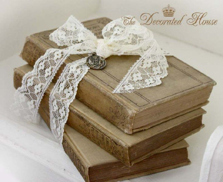 So pretty wrapped in lace for the love of it old books for Antique books for decoration