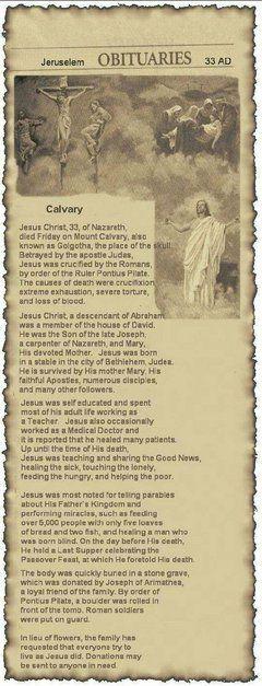 Obituary of Jesus Christ, 33 of Nazareth