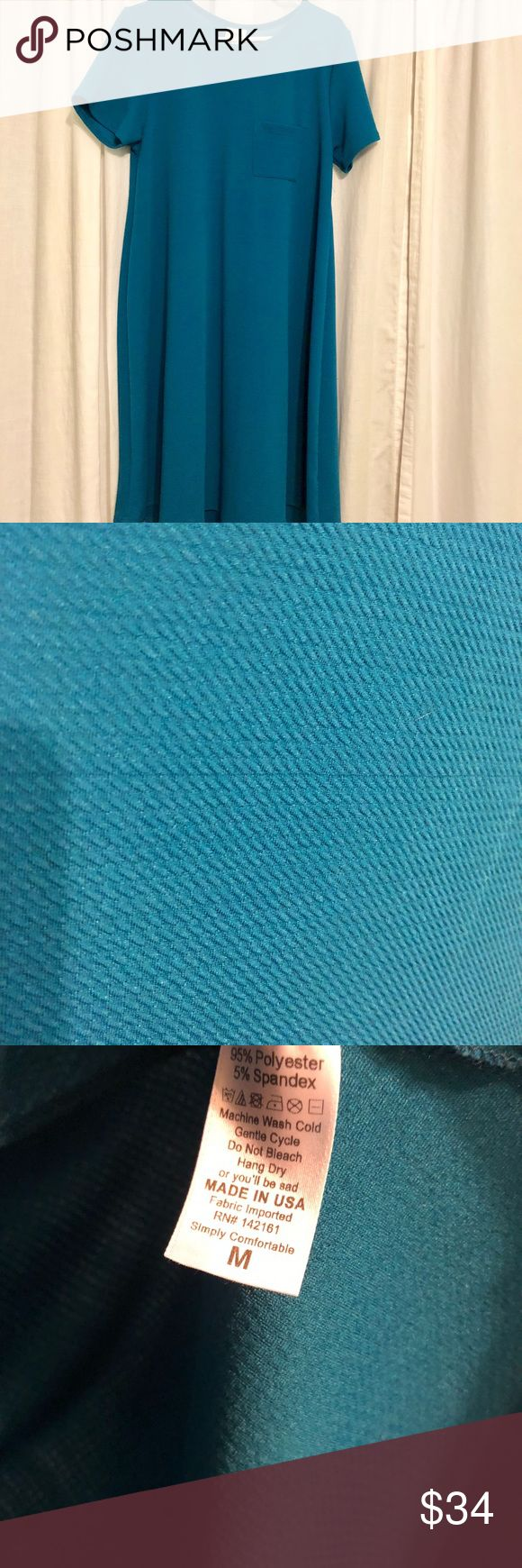 Lularoe Peacock Blue Waffle Weave Carly Medium Perfect condition / worn once / no signs of wear/pilling / laundered per llr instructions LuLaRoe Dresses High Low