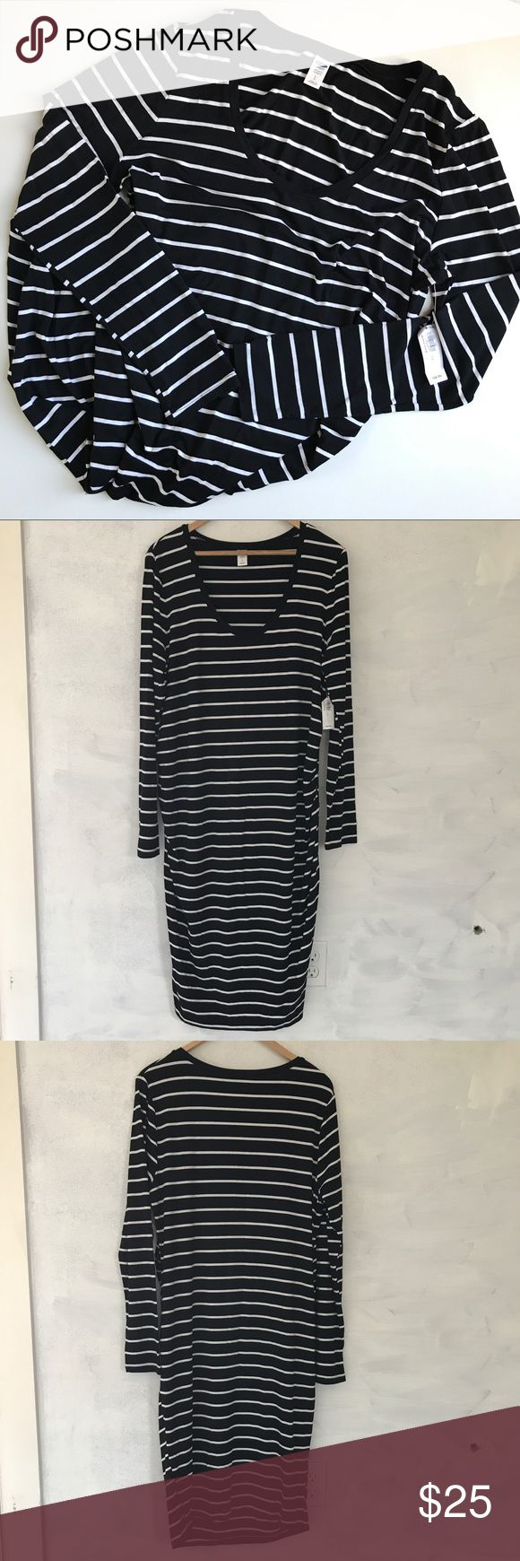 "Old Navy Maternity dress. NWT black & white stripe maternity dress from Old Navy. Long sleeve. Size large. Measures 20.5"" pit-to-pit and 42"" long. Sleeve length 18.5"". Sorry, no trades & I am unable to model. Old Navy Dresses"