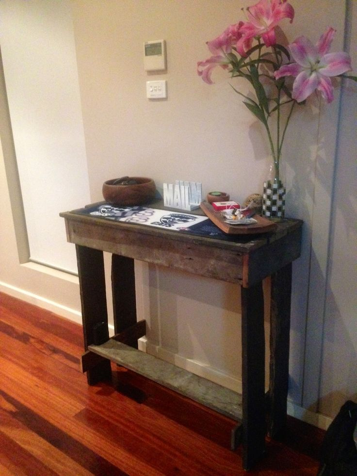 Hall table made with recycled timber from old pallets