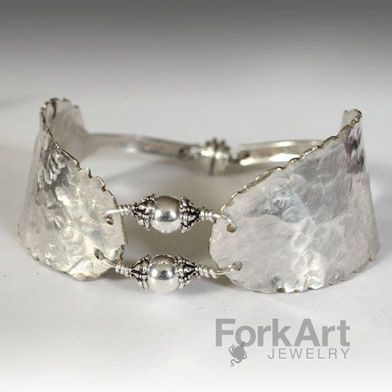 Spoon bracelet with 2 silver beads by ForkArtJewelry on Etsy