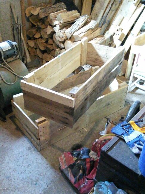 "Garden boxes 48"" x18"" x1'. Homemade from pallets. Made by Me!"
