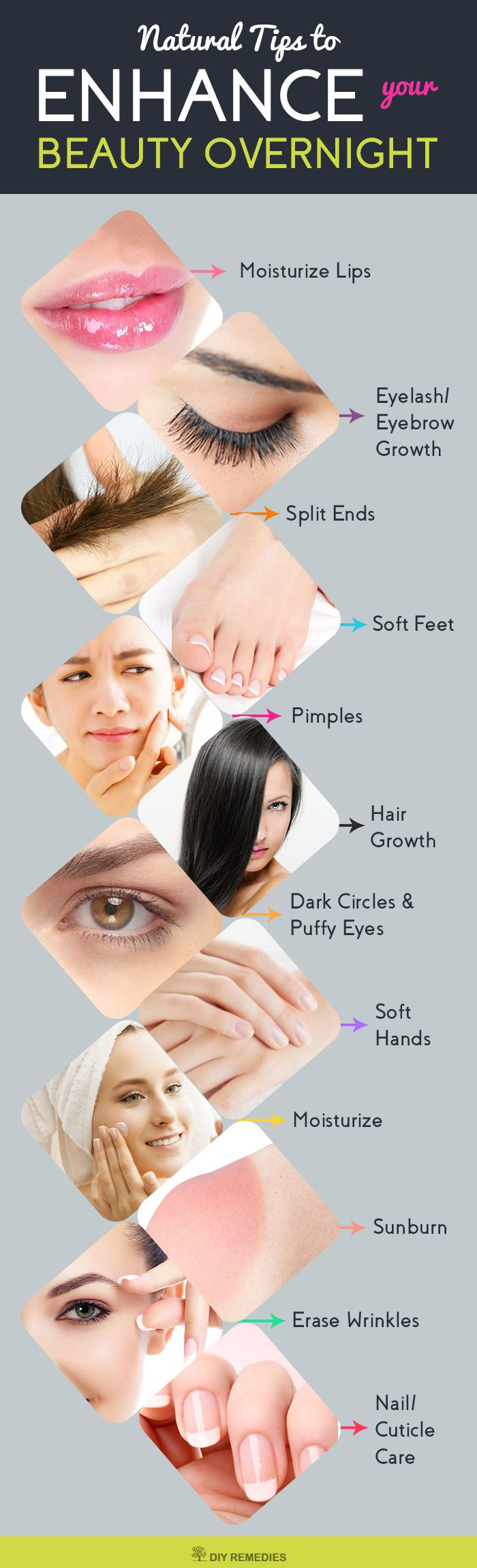 Overnight Beauty Tips    Are you ready to treat your skin and hair with natural remedies and enjoy both rest and beauty treatment at the same time? Let's have a look at these tips and tricks which you have to follow them overnight to fix your beauty problems.  #DIYRemedies #BeautyTips