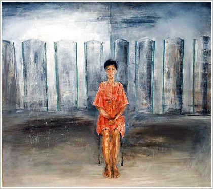 Γυναίκα καθισμένη σε ντιβάνι, 1984. Λάδι σε μουσαμά. Ευγενική παραχώρηση Στεφανίας Ισμαήλου.  Η σπάνια τέχνη του Χρόνη Μπότσογλου ξεκ...