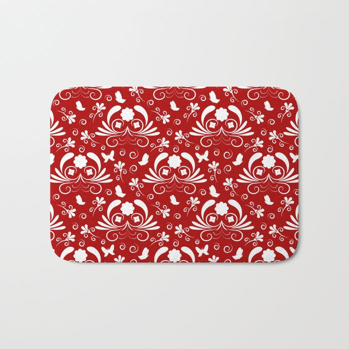 Abstract floral red, white Bath Mat