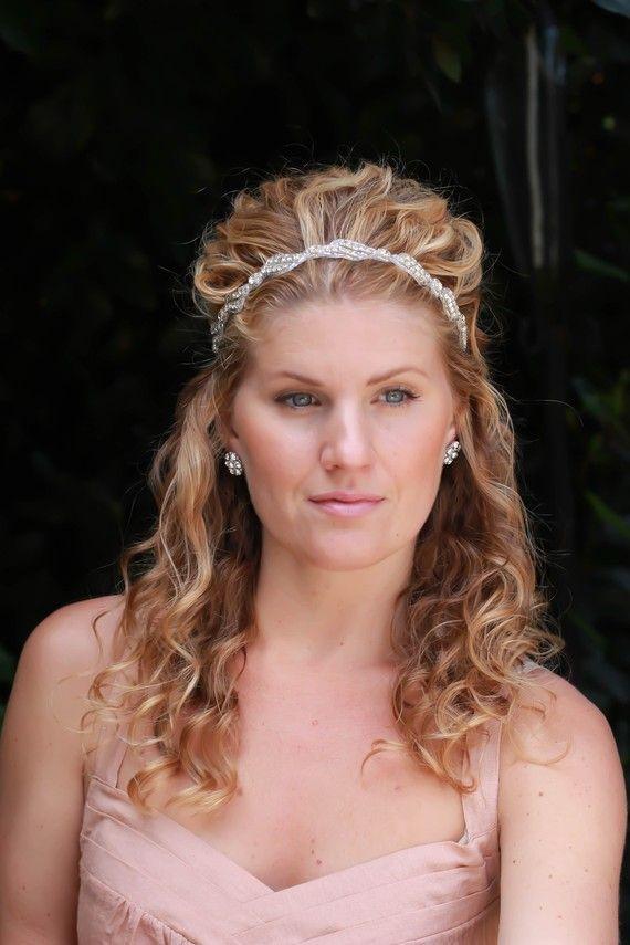 Mary bridal headband, rhinestone headband, wedding headband, bridal hair accessories