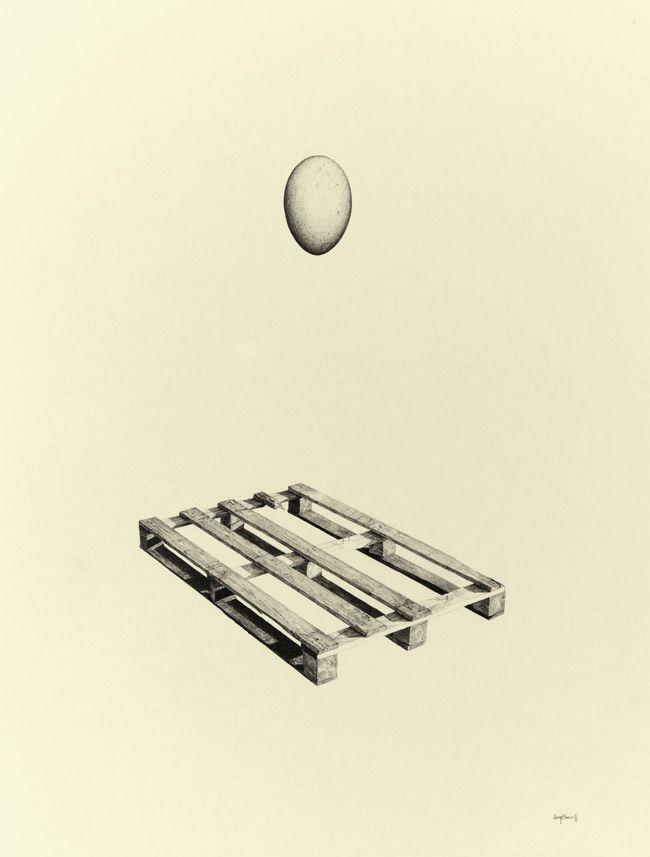 Greg Eason, Egg & Palette (2011), pencil on paper, 15.4 x 22.2''
