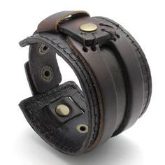 KONOV Jewelry Wide Genuine Leather Mens Bangle Cuff Bracelet, Punk Rock Style, Fits 7.5″ to 8.5″, Color Brown (with Gift Bag)