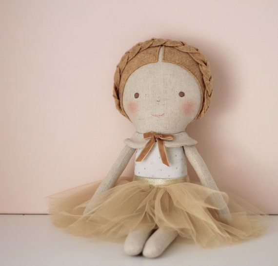 Mustard & Gold doll. Rag doll ballerina with a tutu. Linen and cotton…