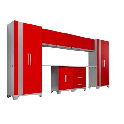 NewAge Products Performance 156 in. L x 75 in. H x 18 in. D Metal Garage Cabinet Set in Red (10-Piece)-36230 - The Home Depot