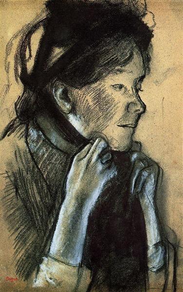 EDGAR DEGAS — Woman Tying the Ribbons of Her Hat  1882   Edgar...
