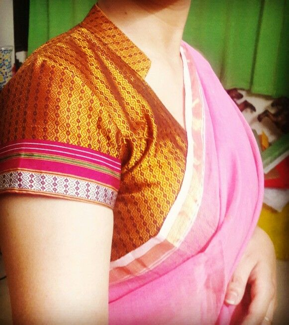 Khunn blouse with chanderi saree.   #chanderi #khunn #saree