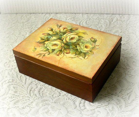 Wooden tea box  wooden jewelry box  decoupage by CarmenHandCrafts