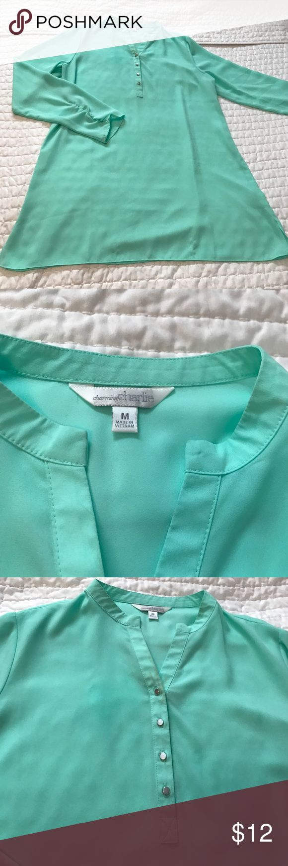 Mint Green Tunic, size Med Size Med, Mint Green blouse/tunic. I wore this with skinny jeans or it was long enough to wear with leggings! Charming Charlie Tops Blouses