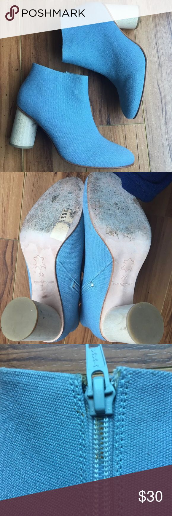 COS Powder Blue Canvas Booties Rounded Heel Sz 7 Overall good condition- does have small yellow discoloration on zipper (see pic). Bundle & Save 😊 COS Shoes Ankle Boots & Booties