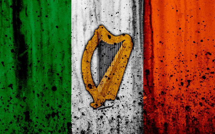 Download wallpapers Irish flag, 4k, grunge, flag of Ireland, Europe, national symbols, Ireland, coat of arms of Ireland, Irish coat of arms