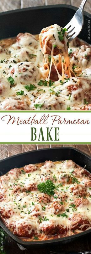 Meatball Parmesan Bake | Melt in your mouth homemade meatballs coated in marinara sauce, topped with Italian cheeses and baked to bubbly perfection! | http://thechunkychef.com