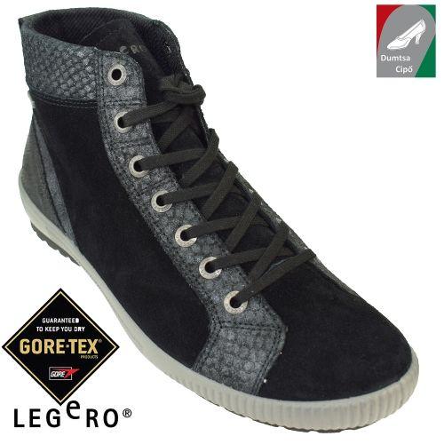Legero vízálló női bőr bokacipő 00612-00 fekete kombi