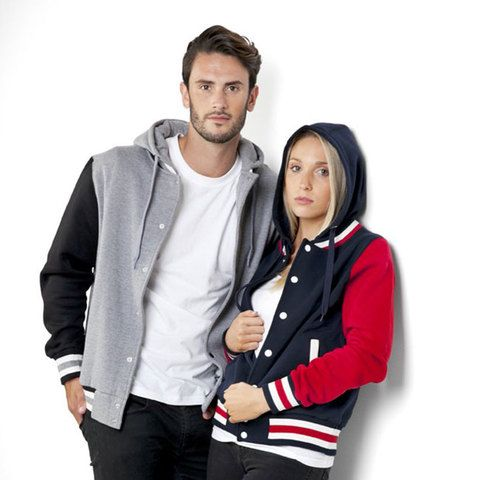 ladies hooded varsity jacket | plain sports jackets online #varsity #hoodie #jacket   Great year 12 leavers ideas